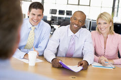 Stock Traders Conducting Interview. During day Royalty Free Stock Photography