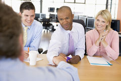Stock Traders Conducting Interview. During day Royalty Free Stock Images
