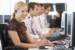 Stock Traders Working At Computers Stock Photos