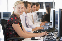 Stock Traders Working At Computers Stock Images