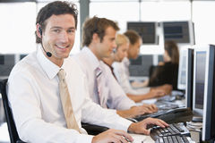 Stock Traders Working At Computers Royalty Free Stock Photography