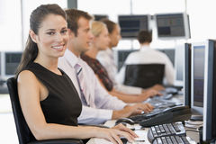 Stock Traders Working At Computers Stock Image