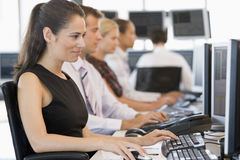 Stock Traders Working At Computers Royalty Free Stock Photo