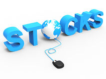 Stock Trades Represents World Wide Web And Bought Royalty Free Stock Photos
