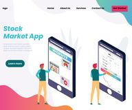 Stock Trading app for Business people Isometric Artwork Concept royalty free illustration