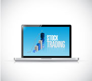 Stock trading business graph laptop illustration Stock Image