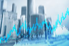 Stock trading candlestick chart and diagrams on blurred office center background.  stock illustration