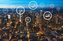 Stock trading concept with downtown Los Angeles. At night stock image