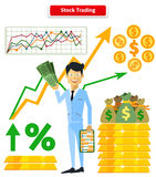 Stock Trading Concept Flat Style. Job and market, leadership human, employment and achievement business, diagram and wealth, finance and dollar, trader and Royalty Free Stock Image