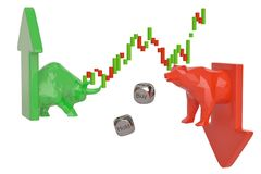 Stock trading corporate bear and bull with arrow. 3D illustration. stock illustration