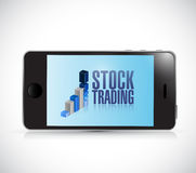 Stock trading on a phone. illustration design Royalty Free Stock Photography