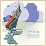Stock vector. Boat on the high seas on a background of clouds. Royalty Free Stock Photo