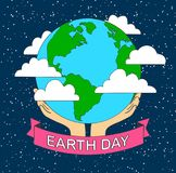 Stock vector cartoon earth illustration planet smile.earth day c. Oncept human hands holding floating globe in space save our planet flat style vector stock illustration