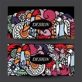 Stock vector cartoon hand draw colorful corporate identity horiz Stock Images