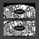 Stock vector cartoon hand draw colorful corporate identity horiz Stock Photography