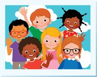 Stock Vector Cartoon Illustration. Photo group of happy children Stock Photo