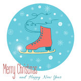Stock vector christmas greeting card with a skate. Figure Skating design element for card.  Vector poster with figure skates. Hand drawn decorative illustration Royalty Free Stock Images
