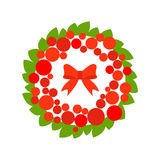 Stock vector christmas wreath with red ball and bow Stock Photography