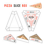 Stock vector design of box for pizza slice. Unwrapped box with layout elements and 3d presentation Stock Photos