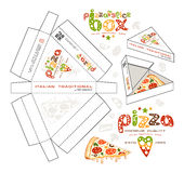 Stock vector design of boxes for pizza slice. Unwrapped box with layout elements and 3d presentation Royalty Free Stock Photography
