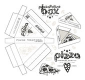 Stock vector design of boxes for pizza slice. Unwrapped box with layout elements and 3d presentation. Monochrome print Royalty Free Stock Photography