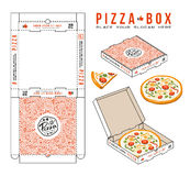 Stock vector design of boxes for pizza. Unwrapped box with layout elements and 3d presentation Royalty Free Stock Images