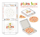 Stock vector design of boxes for pizza. Unwrapped box with layout elements and 3d presentation Stock Images