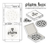 Stock vector design of boxes for pizza. Unwrapped box with layout elements and 3d presentation. Monochrome print Stock Images
