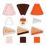 Stock vector design of package for pizza slices. Seamless pattern, unwrapped cardboard and 3d presentation Stock Photos