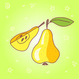 Stock vector fresh pear doodle Stock Photography