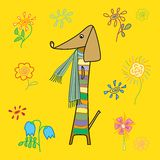Stock vector funny long dog in a striped scarf Royalty Free Stock Photography