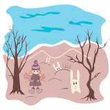 Stock vector girl and rabbits on a background Stock Images