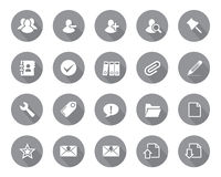 Stock Vector grey rounded web and office icons with shadow in high resolution. Stock Images