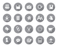 Stock Vector grey rounded web and office icons with shadow in high resolution. Stock Photography