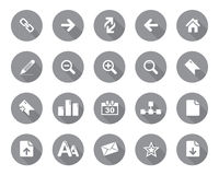 Stock Vector grey rounded web and office icons with shadow in high resolution. royalty free illustration