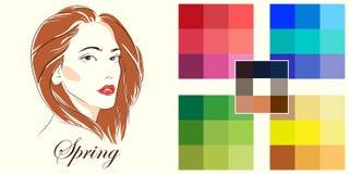 Seasonal color analysis palette for spring type. Stock vector hand drawn girl. Seasonal color analysis palette for spring type stock illustration