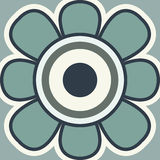 Stock vector icon. Sunflower flat icon. Spring flower on a blue background Stock Photos
