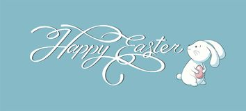 Banner inscription, hand lettering, calligraphy, typography Happy Easter bunny blue background Royalty Free Stock Photos