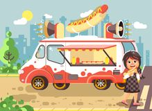 Vector illustration cartoon character child, pupil lonely brunette girl schoolboy eat fast food, sandwiches, hot dog Royalty Free Stock Photo