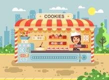 Vector illustration cartoon character child pupil, schoolgirl little seller girl manufactures baking cookies, cooking royalty free illustration