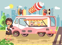 Vector illustration cartoon character child pupil schoolgirl lonely brunette girl buy eat ice cream, vanilla, chocolate Stock Photography