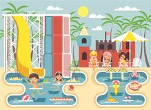 Vector illustration cartoon characters boy and girl swimming pool near water slide, frolicking, resting in aqua park Royalty Free Stock Photography