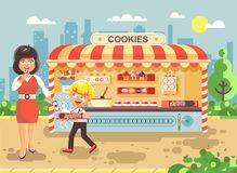 Vector illustration cartoon characters child pupil schoolboy seller boy sales to woman muffin, cupcake, cake, sweet Royalty Free Stock Image