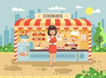 Vector illustration cartoon characters child pupil schoolboy seller boy sales to woman muffin, cupcake, cake, sweet Stock Image