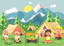 Hildren boy sings playing guitar with girl scouts, camping on nature, hike tents and backpacks, adventure park outdoor. Stock vector illustration cartoon Stock Photos