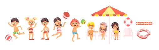 Vector illustration  cartoon characters children, boys and girls resting in swimsuits, swimming trunks Royalty Free Stock Photography
