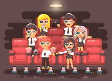 Vector illustration cartoon characters children, classmates, pupils, schoolboys, schoolgirls, boys, girls sitting in Royalty Free Stock Image