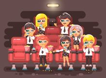 Vector illustration cartoon characters children, classmates, pupils, schoolboys, schoolgirls, boys, girls sitting in Stock Photography