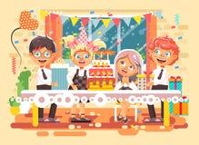 Vector illustration cartoon characters children, friends, boys, girls celebrate happy birthday, congratulating, giving. Stock vector illustration cartoon Stock Photo