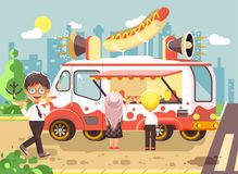 Vector illustration cartoon characters children, pupils, schoolboys and schoolgirl buy fast food, sandwiches, hot dogs Royalty Free Stock Photography